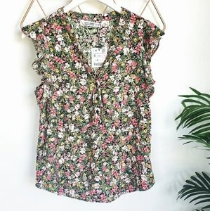 NWT Zara Floral Vneck Henley flutter sleeve sz S